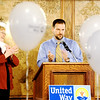Globe/T. Rob Brown<br /> Co-chairs Troy Stovern and Judy Westhoff announce the United Way 2011 campaign grand total of $1,292,597.81 Thursday afternoon, Feb. 23, 2012, during the United Way banquet at the Butcher Block.