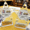 Globe/T. Rob Brown<br /> Awards earned by the robot team for their successes with robot performance and robot programming during the Nov. 12, 2011, Tulsa Qualifier, as seen Wednesday after school, Feb. 8, 2012, at Seneca Intermediate School.