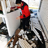 Globe/T. Rob Brown<br /> Dharam Chaudhari, co-manager of Economy Inn & Suites, at the corner of Centennial and Broadway, shows where he hid between two of the motel's buildings during Tuesday night's severe storm in Pittsburg, Kan., Wednesday morning, Feb. 29, 2012.