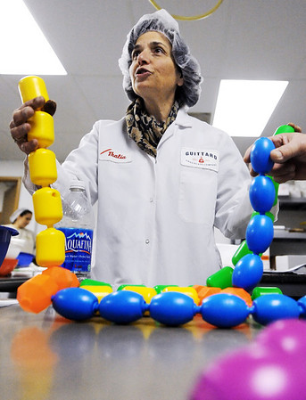 Globe/T. Rob Brown<br /> Thalia Hohenthal explains the chemical structure of chocolate Monday afternoon, Feb. 20, 2012, at the Joplin Candy House chocolate factory.