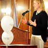 Globe/T. Rob Brown<br /> Louise Secker, employee with Lafayette House, gives a report on employee donations Thursday afternoon, Feb. 23, 2012, during the United Way banquet at the Butcher Block. Lafayette House is one of the charitable organizations that receive funds from the United Way.