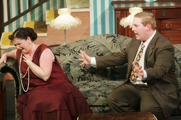 """Globe/Roger Nomer<br /> Hunter Dowell, as Bill Harrington, tries to calm Cassie Lynch, as Mrs. William Harrington, during rehearsal for """"The Patsy"""" at Missouri Southern."""