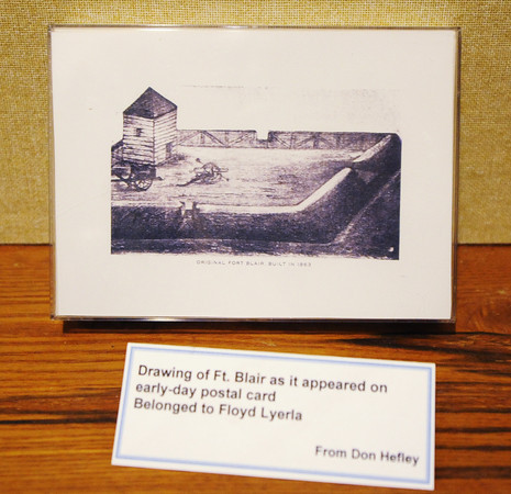 Globe/T. Rob Brown<br /> An artist's rendition of Ft. Blair as it appeared on a postcard at the Baxter Springs (Kan.) Heritage Center and Museum.