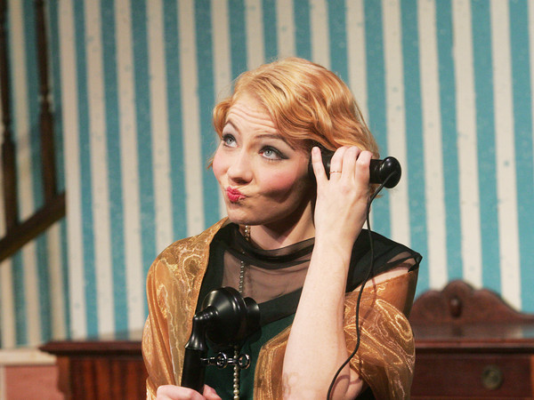 """Globe/Roger Nomer<br /> Devri Brock, as Grace Harrington, listens in annoyance to a conversation during rehearsal for """"The Patsy"""" at Missouri Southern."""