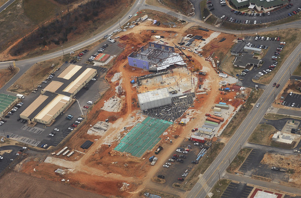 Globe/Roger Nomer<br /> One of the sights city officials saw from the air is the new Irving Elementary School.