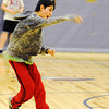 Globe/T. Rob Brown<br /> Joplin South Middle School seventh grader Greg Ybarra plays jailbreak dodgeball with classmates Thursday afternoon, Feb. 7, 2013, during Jeff Gloshem's physical education class in the school's gymnasium.