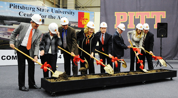 Globe/T. Rob Brown<br /> Dr. Steven A. Scott, PSU president, center, leads a ceremonial groundbreaking for PSU's future Center for the Arts Friday morning, Feb. 1, 2013, at PSU's John Lance Arena.