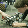 Globe/Roger Nomer<br /> Dylan Heck, fifth grader at Thomas Jefferson, lines up his robot during a test on Tuesday afternoon.