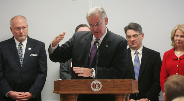 Globe/Roger Nomer<br /> Gov. Jay Nixon explains the expanded Medicaid proposal during a press conference at Missouri Southern on Wednesday.