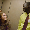 Globe/Roger Nomer<br /> Alexa Fletcher, sixth grade, talks with Manon Bol as she helps escort him to the cafeteria at Pittsburg Middle School on Thursday.
