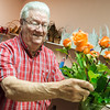 Globe/Roger Nomer<br /> Don Davis works on an arrangement of roses for a new mother at Don Davis Florist on Monday morning.