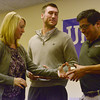 Globe/Roger Nomer<br /> President of the Board of the United Way of Southwest Missouri and Southeast Kansas Johnna Norton awards Campaign Volunteer of the year in Southeast Kansas to Kris Crotts, Baxter Springs USD 508, center, and Volunteer of the year in Southwest Missouri to Steve Stone, Modine Manufacturing, during Friday's United Way breakfast at Granny Shaffer's in Webb City.