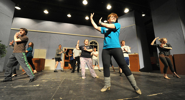 The cast of The Drowsy Chaperone rehearse on Tuesday at Missouri Southern State University.<br /> Globe | Laurie Sisk
