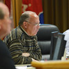 Globe/Roger Nomer<br /> Councilman Mike Woolston listens to a progress report from David Wallace during Monday's meeting at Joplin City Hall.