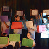 Globe/Roger Nomer<br /> Pittsburg Middle School sixth graders form the flag of Sudan during a play they wrote and performed in honor of Manon Bol's visit on Thursday.