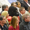 Globe/Roger Nomer<br /> Gus Gorilla sits with the crowd during Tuesday's groundbreaking for the Robert W. Plaster Center.