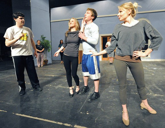 From the left: Zachary Petit, Dyanne Lile, Trey Burkhart and Devri Brock rehearse a scene from The Drowsy Chaperone on Tuesday at Missouri Southern State University.<br /> Globe | Laurie Sisk