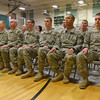 Globe/Roger Nomer<br /> Members of the 276th Engineer Company listen during the deployment ceremony at Pierce City High School on Monday.