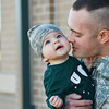 Globe/Roger Nomer<br /> Sgt. Kendall Dickman spends some time with his son Jude, 7 months, at the Pierce City Armory before deploying with 276th Engineer Company on Monday.