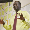 Globe/Roger Nomer<br /> Manon Bol talks about his life as a Lost Boy in Sudan to a class of sixth graders at Pittsburg Middle School on Thursday.