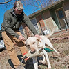 Globe/Roger Nomer<br /> Zach Collard plays with his hunting dog Banks in Pittsburg on Friday.