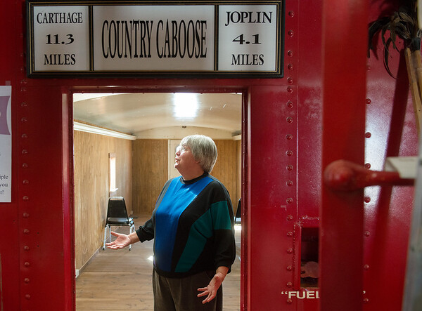 Globe/Roger Nomer<br /> Jane Ballard talks about how she selected the Country Caboose for a wedding chapel during an interview on Tuesday.