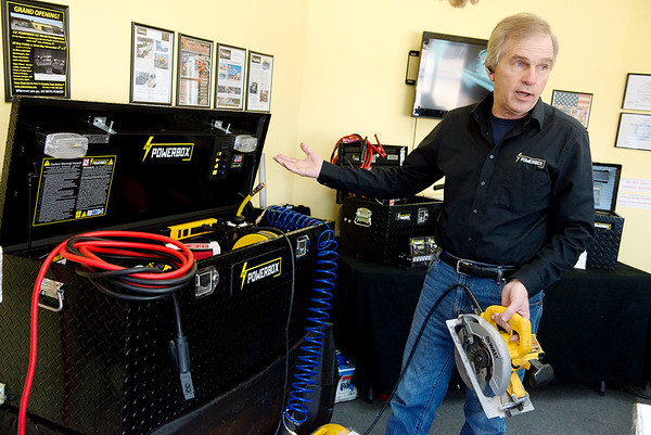 Mike Windsor, owner, talks about the CIC Powerbox during an interview at the Pittsburg factory on Friday.<br /> Globe   Roger Nomer