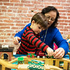 Teddy Brown plays with her grandson Bennett, 2, at Lafayette House on Thursday.<br /> Globe | Roger Nomer