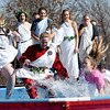 Representatives from the Carl Junction High School Student Council take the chilling plunge into 48 degree water during the Special Olympics Polar Plunge on Saturday at the Joplin Elks Lodge.<br /> Globe | Laurie SIsk
