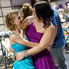 Ashley Augusta greets Abi Clayton, 15, Adrian, at the Joy Prom on Saturday at the Barton County Strength Club in Lamar.<br /> Globe | Roger Nomer