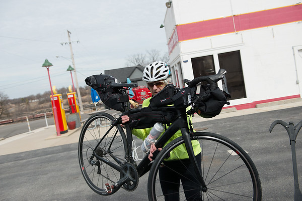 Debra Johnson would like to travel the whole of Route 66 on her bike. She is pictured on Thursday at Cars on the Route in Galena.<br /> Globe | Roger Nomer