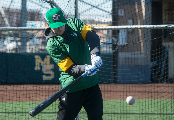 Logan Moon takes batting practice at Missouri Southern on Friday.<br /> Globe | Roger Nomer