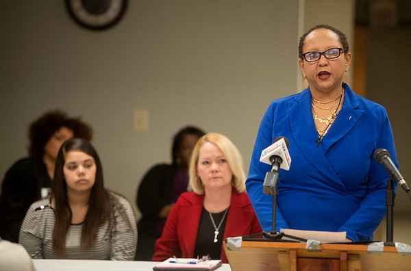 Annette Reeves, vice president of the Joplin NAACP, talks during Tuesday's press conference on the Jalen Vaden case at the Community Service Center.<br /> Globe | Roger Nomer