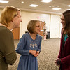Lara, left, and Hailey Stamper talk with Brenda Clark, center, during Tuesday's 2018 Golden Apple Nominee Reception at Missouri Southern. Clark is a science teacher at North Middle School who was nominated for the honor.<br /> Globe | Roger Nomer