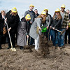 Ground is broken for new transitional housing for Lafayette House on Thursday.<br /> Globe | Roger Nomer