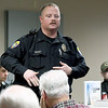 Neosho Police Officer Phillip Whiteman speaks to a group of about 40 church officials and concerned parishoners during a seminar on church safety on Tuesday afternoon at New Mac Electric in Neosho. About 40 people attended the seminar.<br /> Gobe | Laurie Sisk