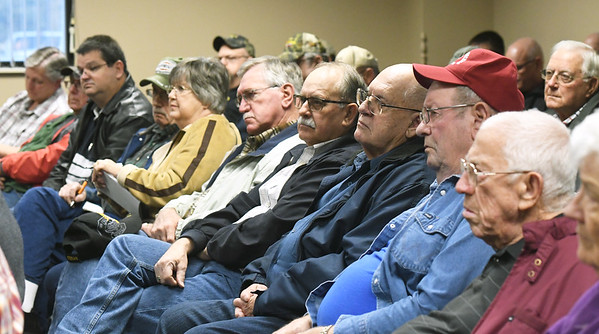 Local church officials and concerned parishoners listen during a seminar on church safety on Tuesday afternoon at New Mac Electric in Neosho. About 40 people attended the seminar.<br /> Gobe | Laurie Sisk