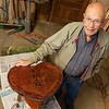 Ike Barger created a wooden Valentine table for his wife Virginia out of a heart-shaped piece of wood.<br /> Globe | Roger Nomer