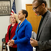 (from left) Tracey Martin, attorney for Jalen Vaden, Annette Reeves, vice president of the Joplin NAACP, and Rev. Darryl Gray, state chairperson for the Social Action Commission at the Missouri Baptist State Convention, answer questions on Tuesday about the Vaden case at the Community Service Center.<br /> Globe | Roger Nomer