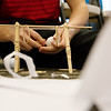 Gavin Reed, a junior at Adrian High School, constructs a solution to an engineering puzzle at the Regional TSA Conference at Missouri Southern on Friday.<br /> Globe | Roger Nomer
