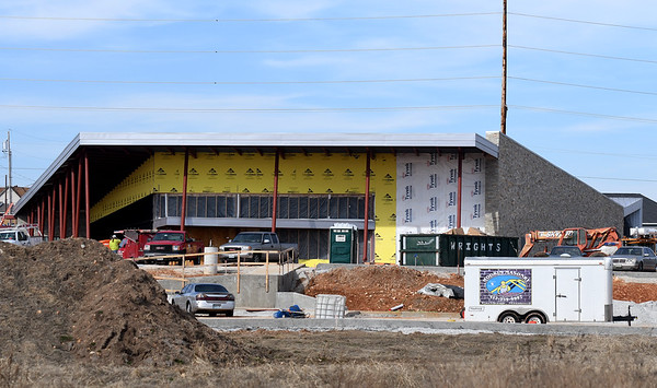 Work continues Tuesday on the new Senior Center adjacent to Mercy Park.<br /> Globe | Laurie Sisk