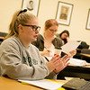 Sage Rowe, a Missouri Southern senior from Seneca, answers a question during an English class at MSSU on Monday.<br /> Globe | Roger Nomer