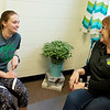 EmmaLeigh Pierson, a Missouri Southern senior from Carthage, talks with Debbie Fort, director of Project Stay, on Friday at Missouri Southern.<br /> Globe | Roger Nomer