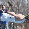Lucas Berliew, of the Carl Junction High School Student Council, prepares to belly flop into 48 degree water during the Special Olympics Polar Plunge on Saturday at the Joplin Elks Lodge.<br /> Globe | Laurie SIsk