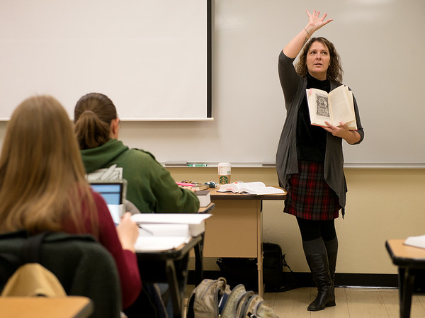 Rebecca Mouser teaches her English 371 class on Monday morning at Missouri Southern.<br /> Globe | Roger Nomer