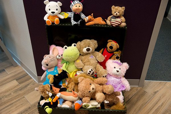 Community donations help provide stuffed animals to children at the Children's Center.<br /> Globe | Roger Nomer