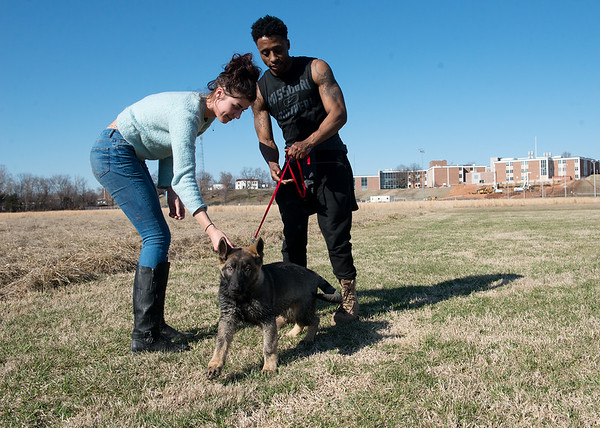 Beth Franlin and Jay Brown play with Harley on a sunny Monday afternoon at Missouri Southern.<br /> Globe | Roger Nomer