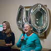 Jennifer Reeves, board president, left, and Alison Malinowski Sunday, executive director, help celebrate the 40th birthday of Lafayette House on Thursday.<br /> Globe | Roger Nomer