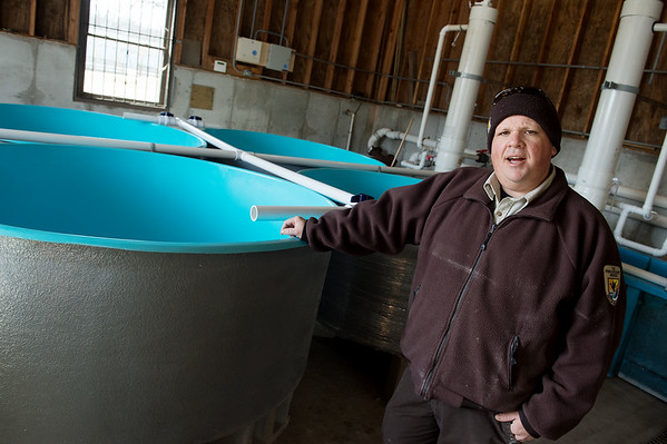 Justin Perkins, a biologist at the Neosho National Fish Hatchery, talks about the hatchery's new circular tanks on Monday.<br /> Globe | Roger Nomer
