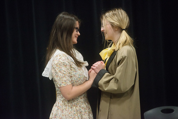 """Mykayla Swearngin, sophomore, left, and Paisley Freund, freshman, rehearse a scene from the one-act play """"June"""" on Thursday at Joplin High School.<br /> Globe   Roger Nomer"""